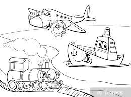Fotobehang Vliegtuig Schip Trein Cartoon Kleurplaat Pixers We