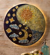 attractive inspiration ideas sun and moon wall art interior decorating yin yang wind weather copper ceramic