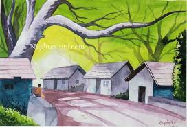 800x546 an indian village scene â water colour painting