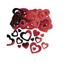 Confettis de table coeurs rouge