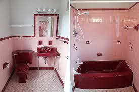 dark pink sanitaryware with light pink bathroom tile