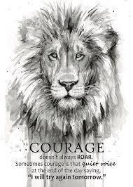 Motivational Quote Stunning Lion Courage Motivational Quote Watercolor Animal Painting By Olga