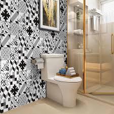 25 pcs black grey white self adhesive bathroom kitchen wall floor tile sticker