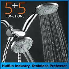 all brushed nickel 5 function 3 way 2 in 1 shower head handheld combo set kohler