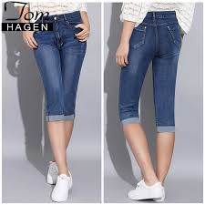 2019 Tom Hagen 2019 Summer Skinny Jeans Woman Pants With High Waist Jeans Women Plus Size Womens Denim Female Stretch Knee Length Q190430 From