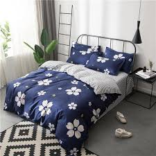 white cherry blossom flowers bedding sets girls kids teens navy blue duvet covers pillowcases stripe bed sheets fl bed linen yellow bedding teen girl