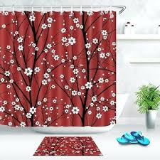 cherry blossoms bathroom decor shower curtain set waterproof fabric w hooks blossom pink