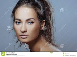 beautiful sport with health skin of face and natural makeup