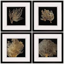 >coral 4 piece 20 square framed coastal wall art set 1h924  coral 4 piece 20 square framed coastal wall art set