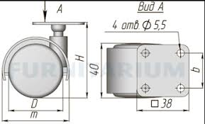 <b>Опора двухколесная с</b> площадкой, D40 мм, без стопора, ОК-40/1 ...