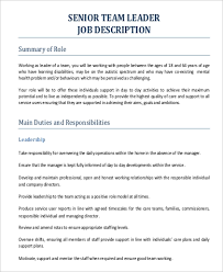 How To Be A Good Team Leader At Work 11 Team Leader Job Description Samples Pdf Word