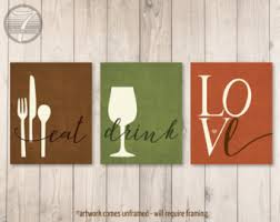 kitchen wall art print set eat drink love utensils wine brown olive rust modern kitchen art set of 3 many sizes unframed on food and drink wall art with kitchen wall art print set eat pray love mustard grey