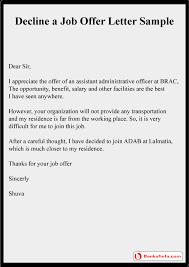 how to decline a job offer decline a job offer letter sample