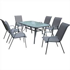 outdoor table and chairs. Marquee 7 Piece Steel Sling Back Outdoor Setting Table And Chairs F