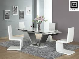 white rectangular dining table. White Dining Room Set With Curved Chairs Made Of Acrylic And Rectangular Table Metal Base