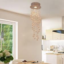 k9 crystal ceiling light chandelier pendant lamp spiral rain drop metal silver