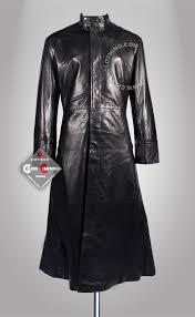 matrix leather trench coat