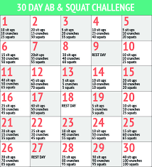30 Day Ab Squat Challenge Fitness Squat Ab Challenge