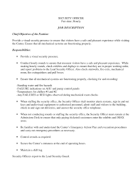 Security Officer Resume Objective Myacereporter Com