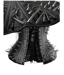 spikes metallic rivets studded underbust corset bustier leather