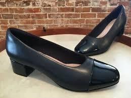 Chartli Deva Pump Clarks Navy Blue Leather Chartli Diva Cap Toe Low Heel Dress Pumps 9 5 New Ebay