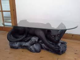 black panther glass coffee table