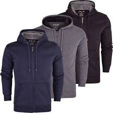 mens soft fleece lined hooded jumper sweatshirt zip through up plain coat jacket