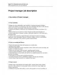 Project Manager Job Description Resume Job Sample Resumes