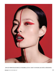 ling liu models red looks in vogue china