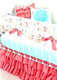 peach nursery bedding ruffled crib c and teal baby mint fl