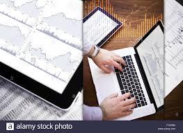 Stock Market Analysis Business Theme Photo Mosaic Stock