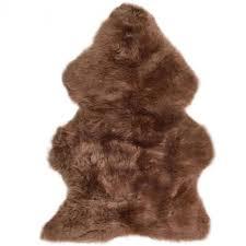 british premium quality large genuine sheepskin rug in otter brown front
