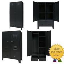 vidaXL <b>Wardrobe Metal Industrial Style</b> 90x40x180cm Black Storage ...