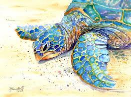 original sea turtle watercolor painting kauai art by kauaiartist
