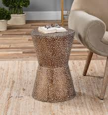 metal drum coffee table complete end tables modern copper bronze drum table pierced