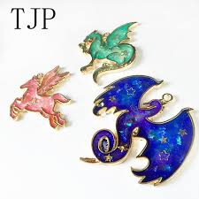 TJP <b>3 pcs</b>/lot 3 styles Dragon <b>Metal</b> Frame Pendant Gold Charm ...