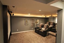Amazing Grey Painted Wall Color Scheme Small Basement Idea Black Vinyl  Reclyning Sofa Basement Design Ideas