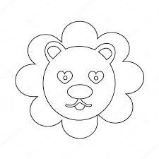 かわいいライオン感情アイコン イラスト サイン デザイン ストック