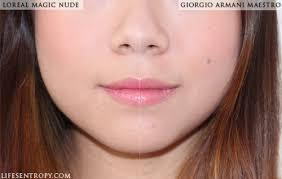 l oreal magic liquid powder vs giorgio armani maestro fusion makeup look2 foundation review