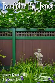 brown vinyl fence panels. Awesome New Home Idea Of Two Color Brown And Green Illusions PVC Vinyl Fencing Panels With Fence