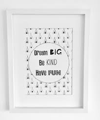 dream big be kind have fun quote print nursery black and white wall art by wattledesignsco on etsy on dream wall art uk with great for monochrome gallery wall https www etsy uk listing