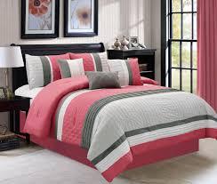 7 piece ebrill pink gray comforter set king