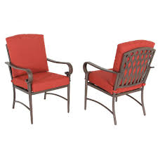 hampton bay oak cliff stationary metal outdoor dining chair with chili cushion 2 pack
