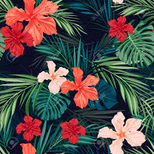 Hawaiian Pattern Custom Summer Colorful Hawaiian Seamless Pattern With Tropical Plants