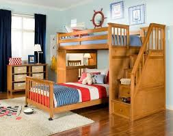 Here we have an elegant, natural wood bed with a set of stairs to the