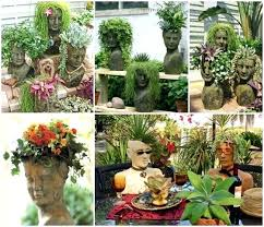 making cement planters head face feature building how to hand cupped stone garden planter