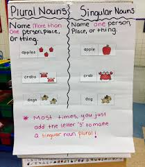 Singular And Plural Noun Anchor Chart For First Or Second