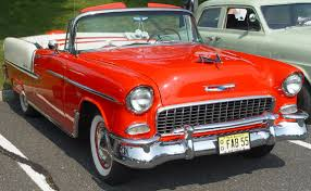 1955 Chevrolet Bel Air Convertible - Red & White - Front Angle