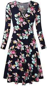 KASCLINO <b>Women's Floral Printed</b> Dress, A Line Long Sleeve V ...