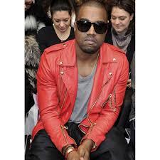 kanye west red leather biker jacket